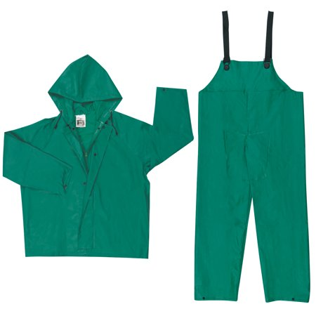 - Two-Piece Rain Suit, Jacket w/Hood, Bib Pants, 0.42 mm PVC/Poly, Green, 2X-Large