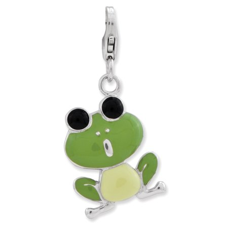 - Sterling Silver Enameled Frog w/Lobster Clasp Charm