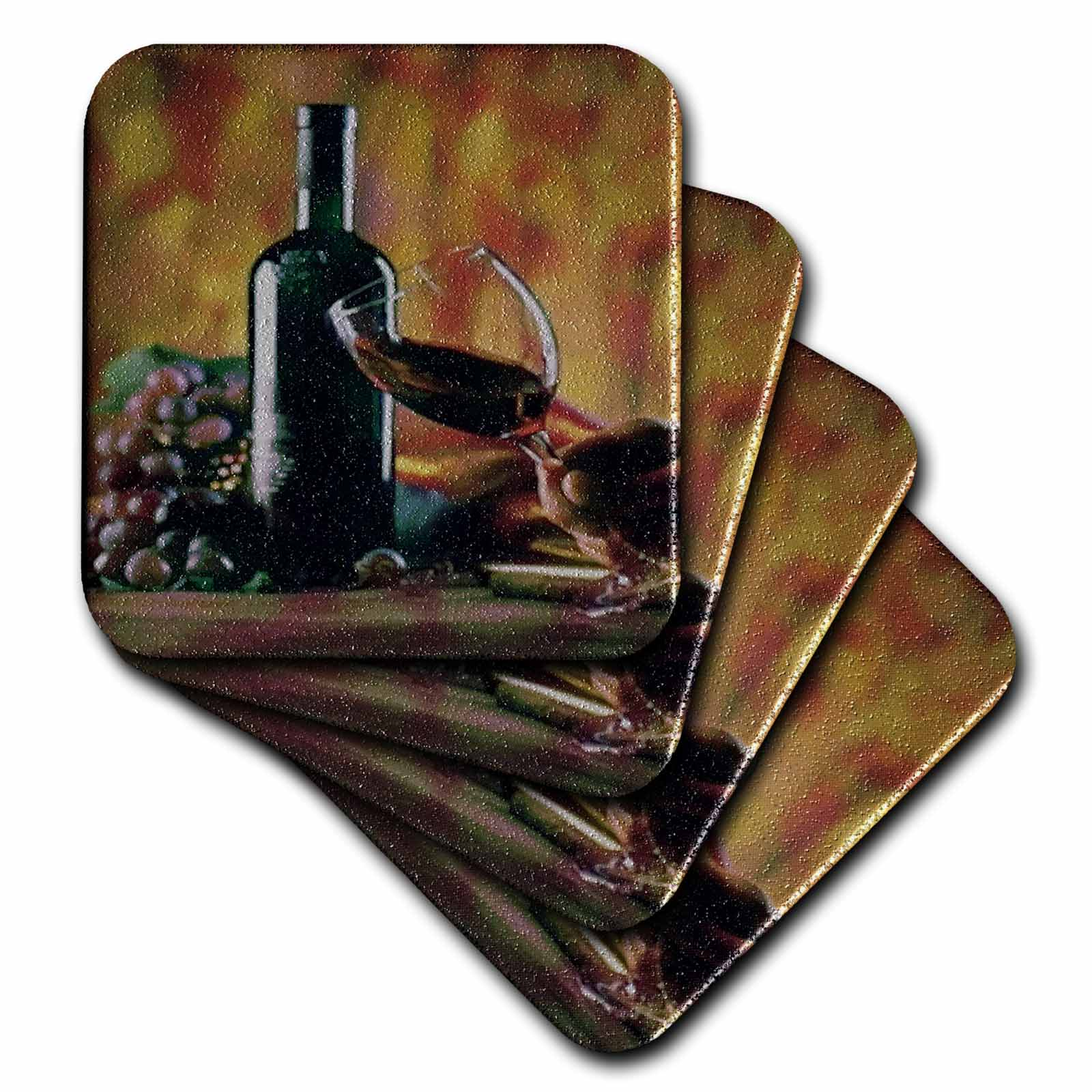 3dRose Glass of Wine in Napa, Soft Coasters, set of 8
