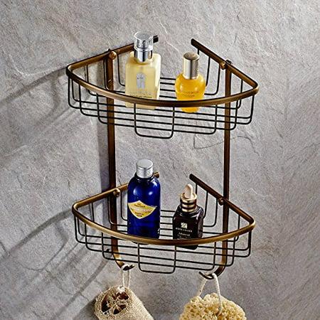 AUSWIND Solid Brass Cosmetic 2 Layers Corner Shelf Bronze Oil Brushed Bathroom Hardware H7