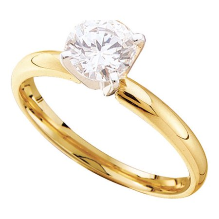 14kt Yellow Gold Womens Round Diamond Solitaire Bridal Wedding Engagement Ring 1/6 Cttw