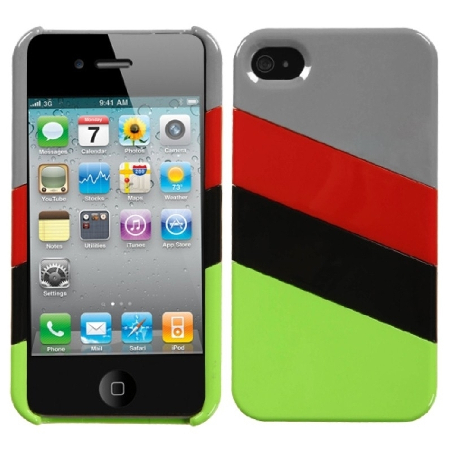 Insten MyColor Splash Case (009) (with Package) For iPhone 4/4S