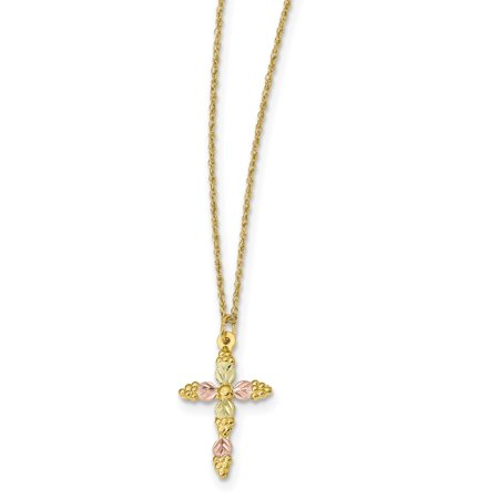 10k Tri Color Black Hills Gold Cross Religious Chain Necklace Pendant Charm Crucifix For Women Gift Set