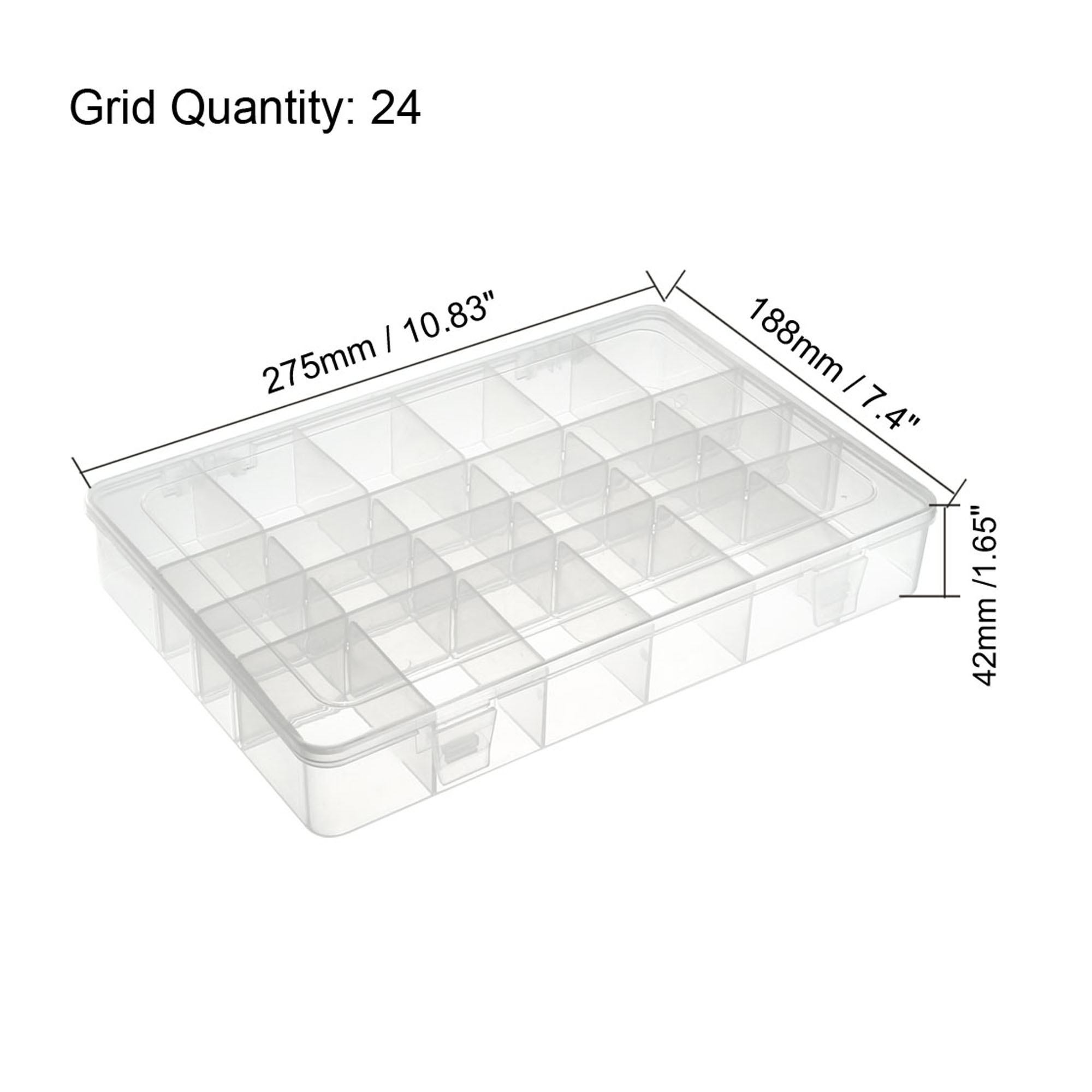 Component Storage Box - PP Adjustable 24 Grids Electronic Component Containers Tool Boxes Clear White 275x188x42mm - image 1 of 4