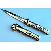 "9"" GOLD DRAGON Handle & Blade Michael Corleone Milano Yakuza Godfather Style Pocket Knife"