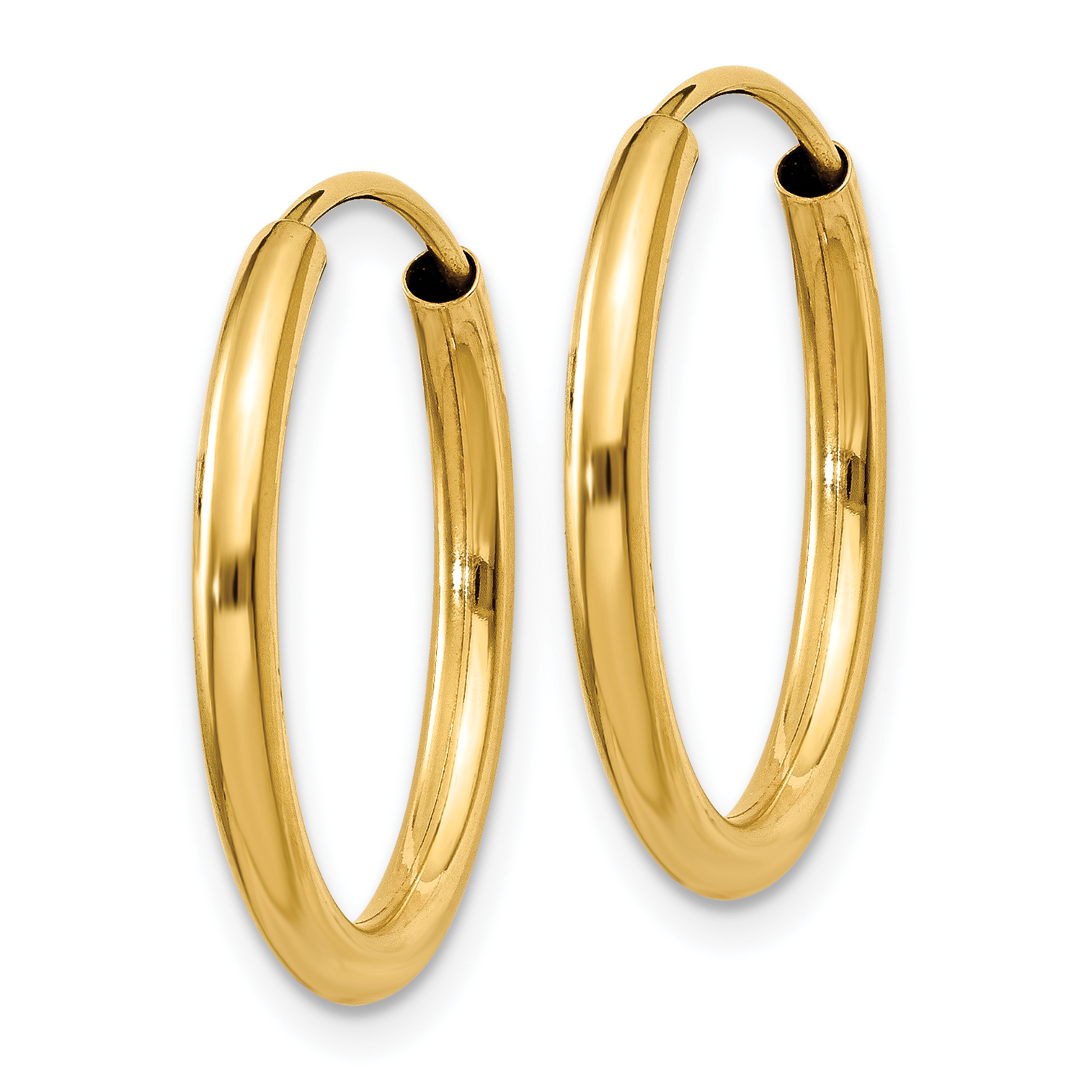 14k Yellow Gold Round Endless 2mm Hoop Earrings Ear Hoops Set Fine Jewelry Gifts For Women For Her - image 2 of 3