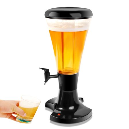 (Costway 3L Cold Draft Beer juice Tower Dispenser Plastic with LED Lights)