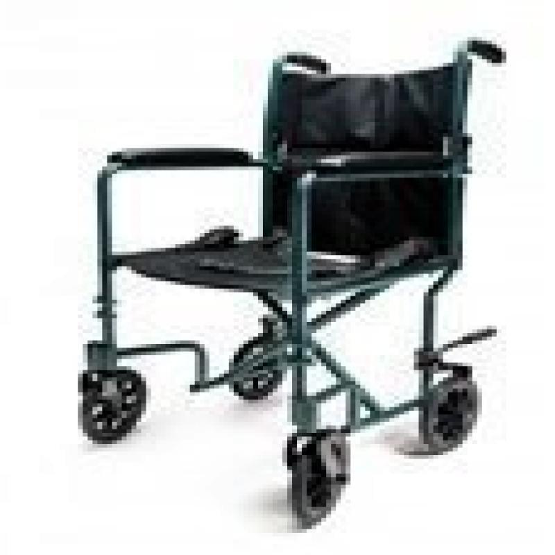 Everest Graham Field Aluminum Transport Chair 17 Inch Green