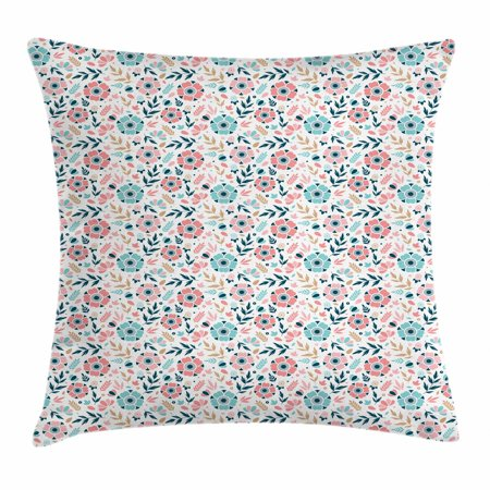 Hand Colored Floral Art - Floral Throw Pillow Cushion Cover, Soft Pastel Colored Hand Drawn Abstract Five Petal Flowers and Wild Herbs Design, Decorative Square Accent Pillow Case, 18 X 18 Inches, Multicolor, by Ambesonne
