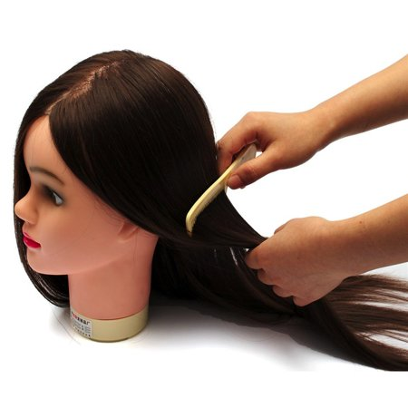 LuckyFine Hairdressing Training Head 60% Real Hair 18'' Hairdressing Head Mold / Dummy Head / Practice Model with Bracket - image 4 of 7