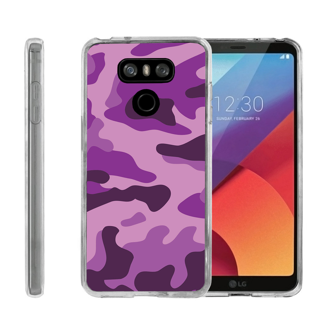 Clear Case for LG G6 H870 | LG G6 Transparent Case [ Flex Force ] Clear Lightweight Flexible Phone Case - Purple Camouflage