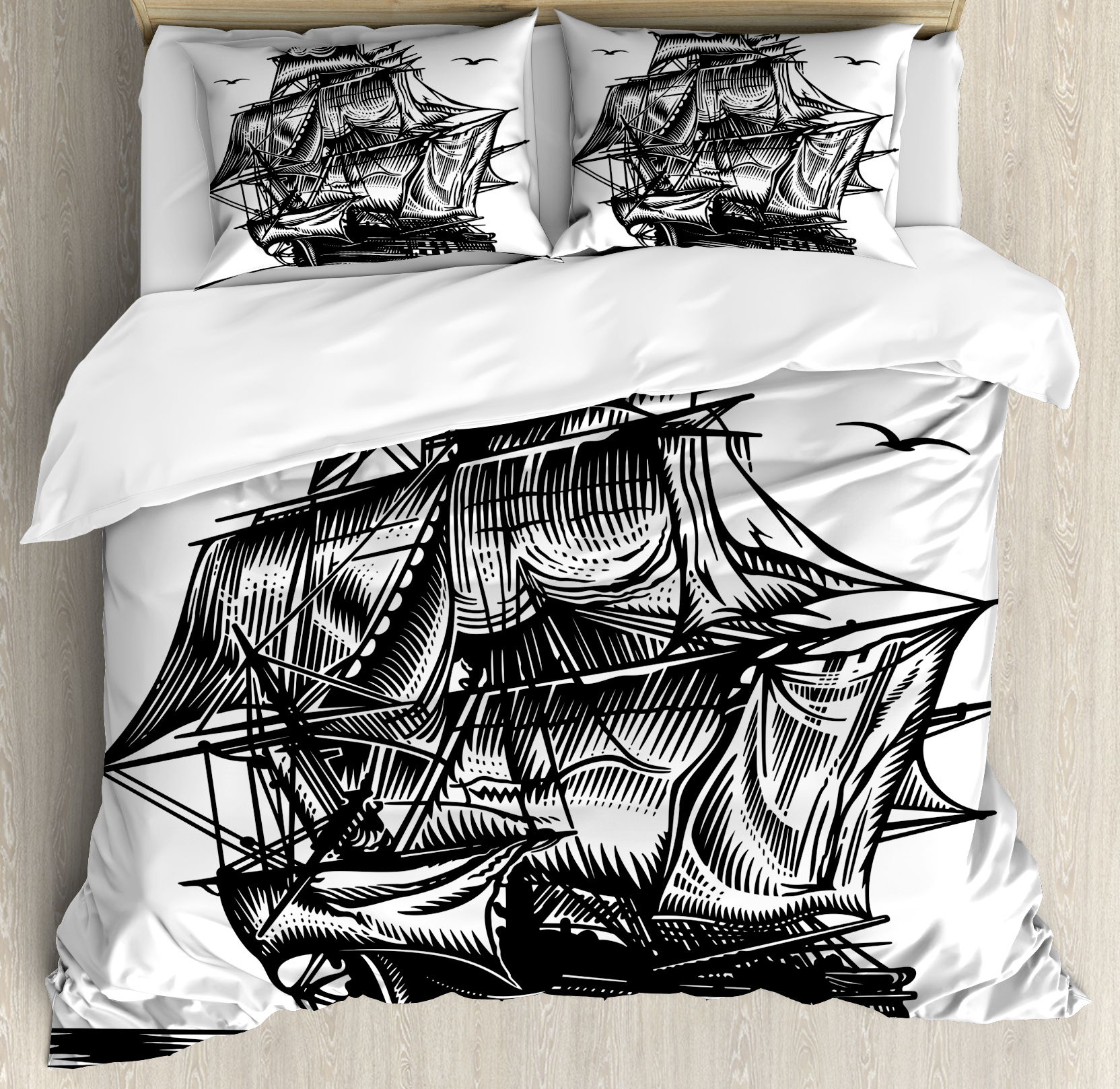Pirate Ship Queen Size Duvet Cover Set, Nautical Line Art Style Illustration with Vintage Sailboat on Exotic Waters, Decorative 3 Piece Bedding Set with 2 Pillow Shams, Black White, by Ambesonne