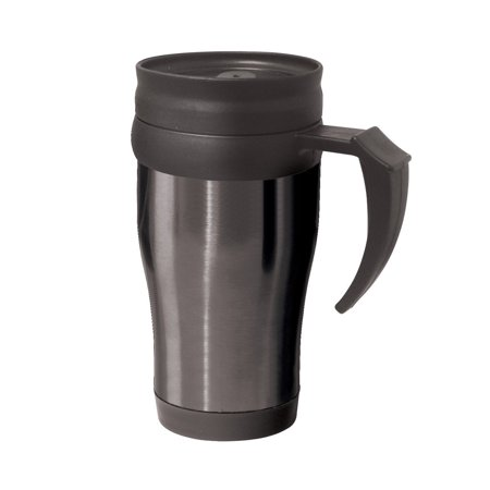 OGGI Lustre Stainless Steel with Plastic Liner, Lid and Base Travel Mug, 14-Ounce