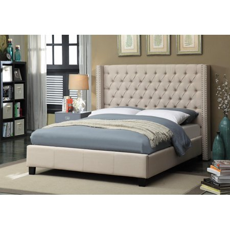 Meridian Furniture Ashton Queen Size Bed in Beige Chrome Nailheads Contemporary ()