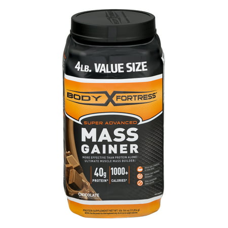 (Body Fortress Super Advanced Mass Gainer Protein Powder, Chocolate, 40g Protein, 4 Lb)