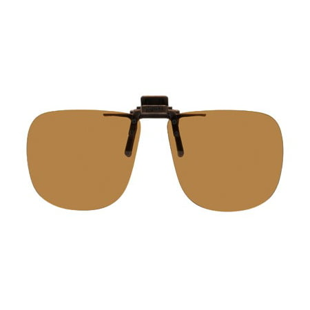 Polarized Clip-on Flip-up Plastic Sunglasses - Square - 60mm Wide X 54mm High (136mm Wide) - Polarized Brown (Jupiter Squared Polarized Sunglasses)
