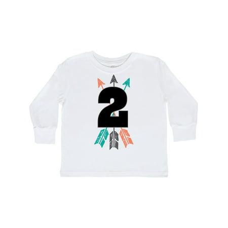 2nd Birthday Boys Native Arrow Toddler Long Sleeve T-Shirt - Native Bow And Arrow