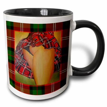 3dRose Tart In Kilt - Tartan kilt, tartan, red, christmas, new year, hogmanay, scotland - Two Tone Black Mug, 11-ounce