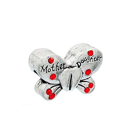 Buckets of Beads Rhinestone Mother and Daughter Butterfly Charm Bead, Red