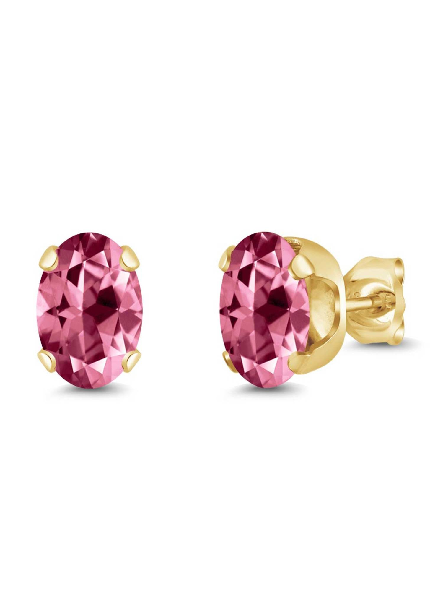 925 Yellow Gold Plated Silver Earrings Set with Pink Topaz from Swarvoski by