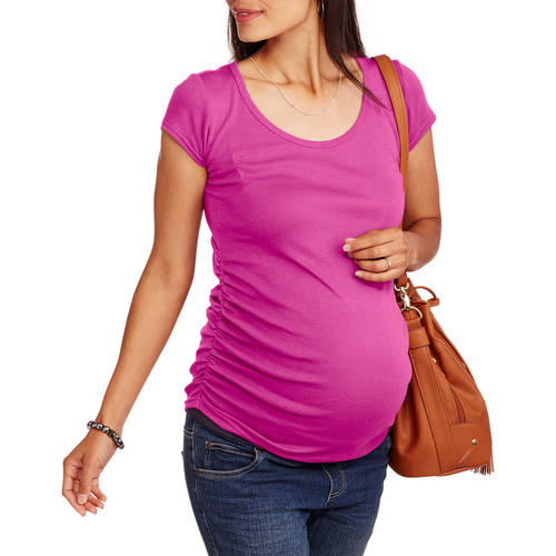 Maternity Short Sleeve Scoop Neck Tee With Flattering Side Ruching--Available in Plus Sizes