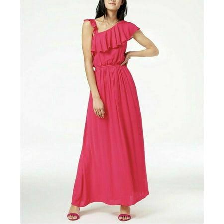 The Edit By Seventeen Juniors Pink Crepe One Shoulder Maxi Dress, XS