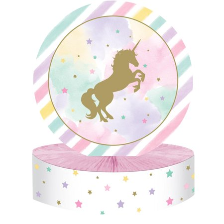 Club Pack of 6 Pink and White Round Centerpiece HC Foil with Unicorn Star Print 13