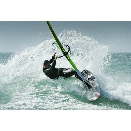 Windsurfing Tarifa Cadiz Andalusia Spain Canvas Art - Ben Welsh Design Pics (36 x 24)