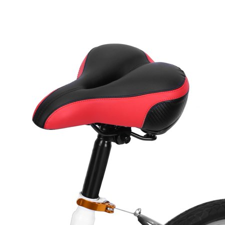 Comfortable Bike Seat for Men and Women Thickened Wide Bum Shock Absorb Bike Saddle With High Reflective Stripe, Oversize Bicycle Saddle, Hibrid and Stationary Exercise