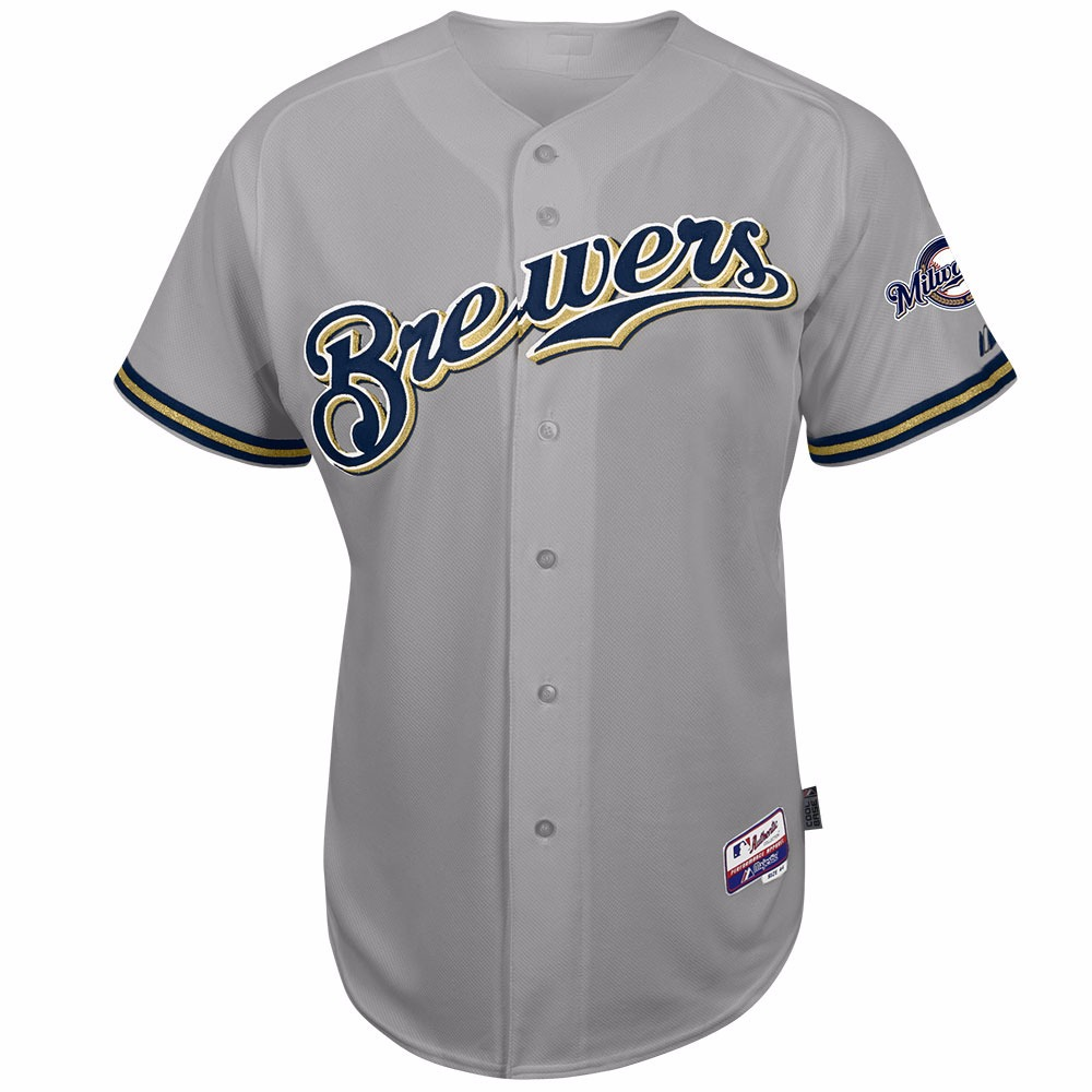 Milwaukee Brewers MLB Majestic Men's Grey Authentic On-Field Cool Base Team Jersey