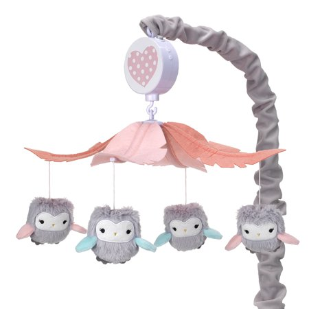Lambs & Ivy Sweet Owl Dreams Gray/Pink Musical Baby Crib Mobile Soother -
