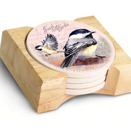Image of American Expedition 5 Piece Chickadee Postcard Stone Coaster Set