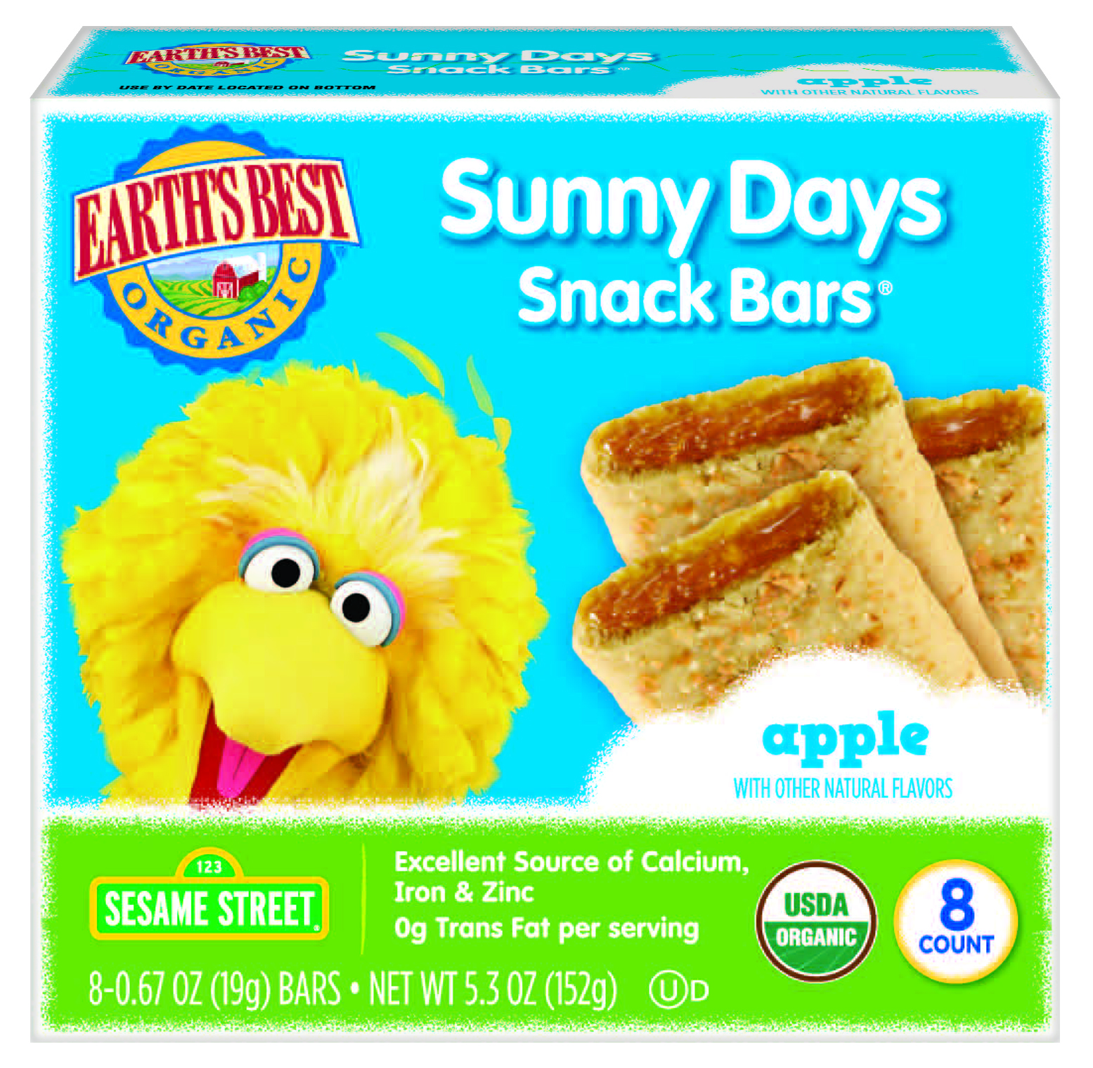 Earth's Best Organic Sunny Day Toddler Snack Bars with Cereal Crust, Made With Real Apples - 8 Count