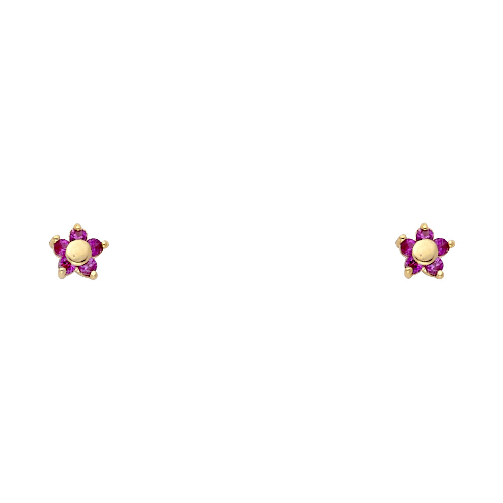 Ioka 14K Yellow Gold Red or White Round Cut Cubic Zirconia CZ Fancy Flower and Leaf Stud Screw Back Earrings