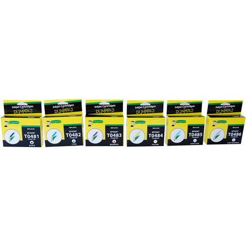 For Dummies - Epson T048 (481,482,483,484,485,486) Inkjet Cartridges- BK and Colors 6 pack, Remanufactured