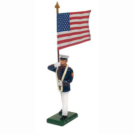 Marine Corps Dress - W. Britain 48512 U.S. Marine Corps Standard Bearer, US Flag, Summer Dress, 1:32nd Scale, 52mm, approx. 2.5 inches tall By W Britain