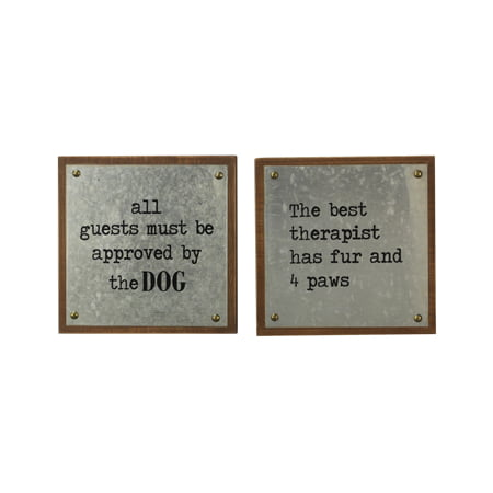 Assorted Best Dog Wood/Tin Signs - Set of 2
