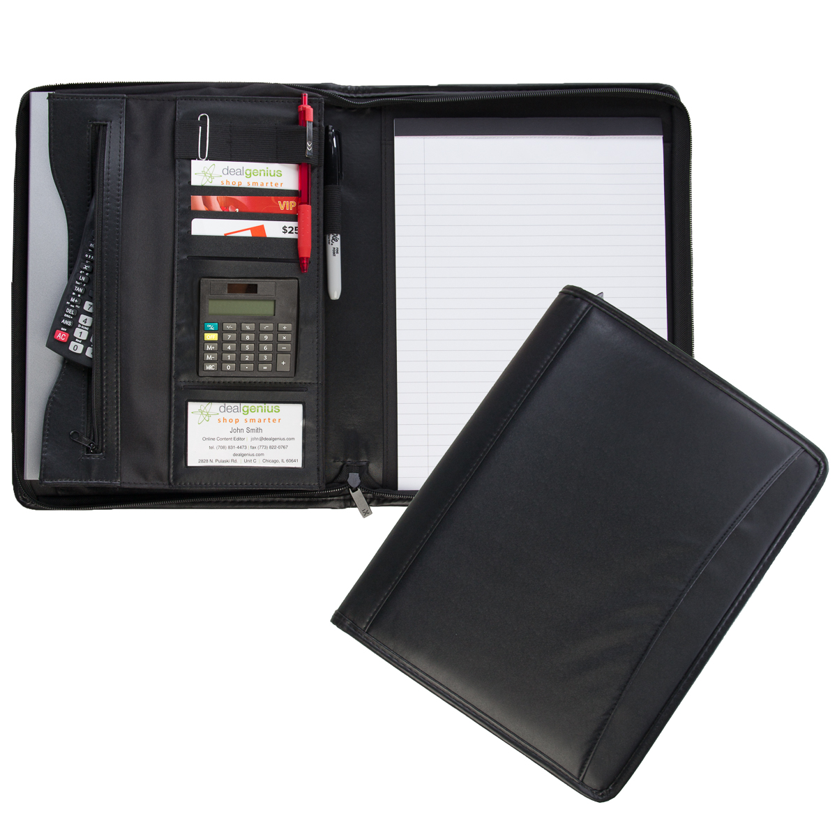 Posh Xessories (2 Pack) Leatherette Zippered Padfolio Business Portfolio Case With Notepad & Pockets