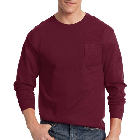 Blue 16 Pocket Square - Hanes Big Men's Tagless Long Sleeve Pocket T-shirt