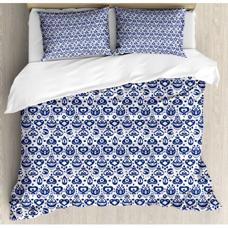 Navy Blue Duvet Cover Set Traditional Asian Ikat Pattern Artistic Retro Style Composition Damask Inspired Decorative Bedding With Pillow Shams