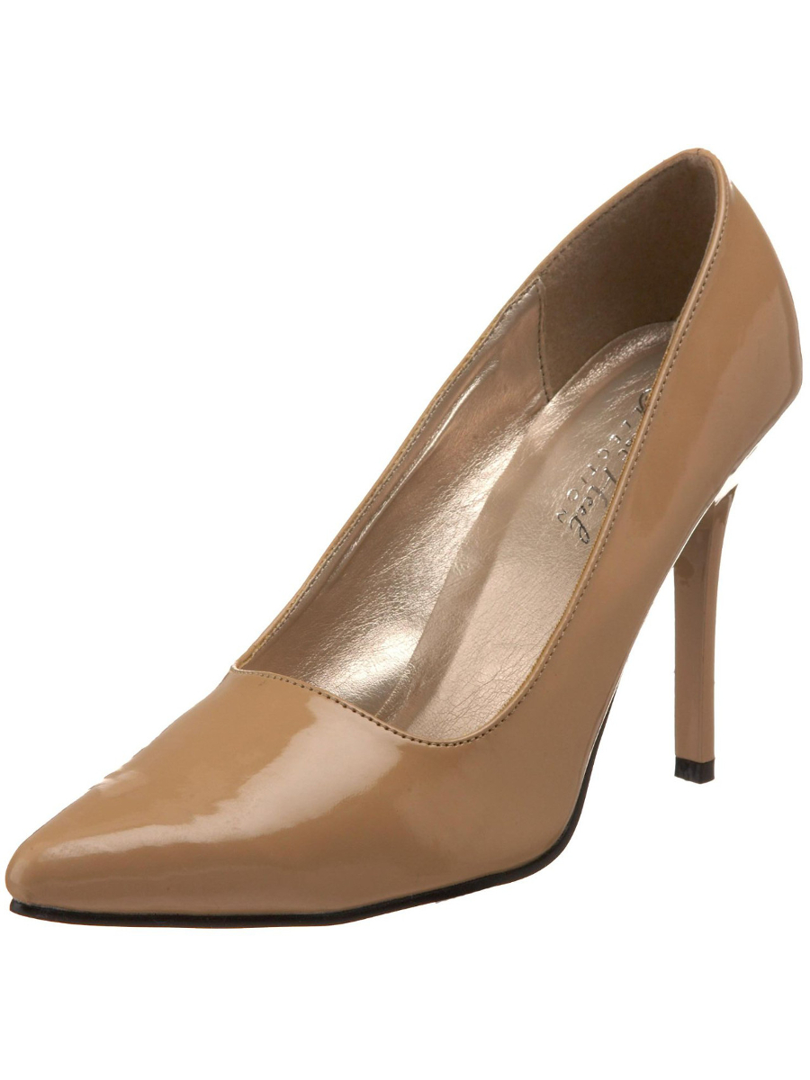 "Women's Highest Heel Shoes 4"" Classic Plain Pump - Nude Patent PU"