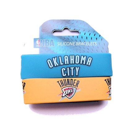 NBA Oklahama City Thunder Sports Team Logo Rubber Wrist Band - Set of 2](Team Bride Wristbands)
