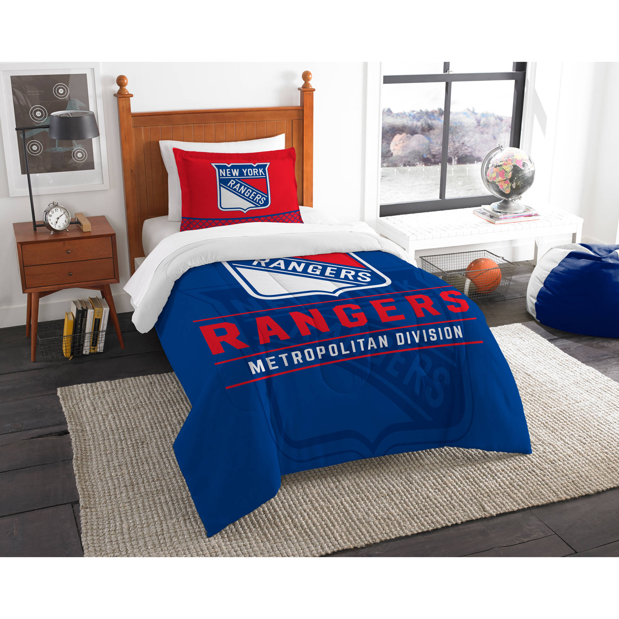 "NHL New York Rangers ""Draft"" Bedding Comforter Set"