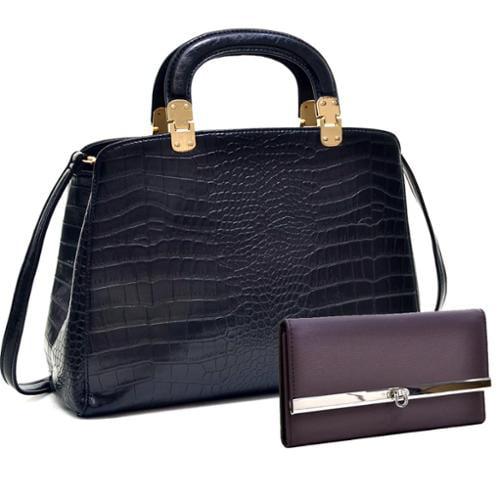 Dasein Faux Croc Hinge Handle Briefcase w/Removable Shoulder Strap & Checkbook Wallet Brown