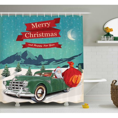 Christmas Decorations Shower Curtain Set, Santa in Classic American ...