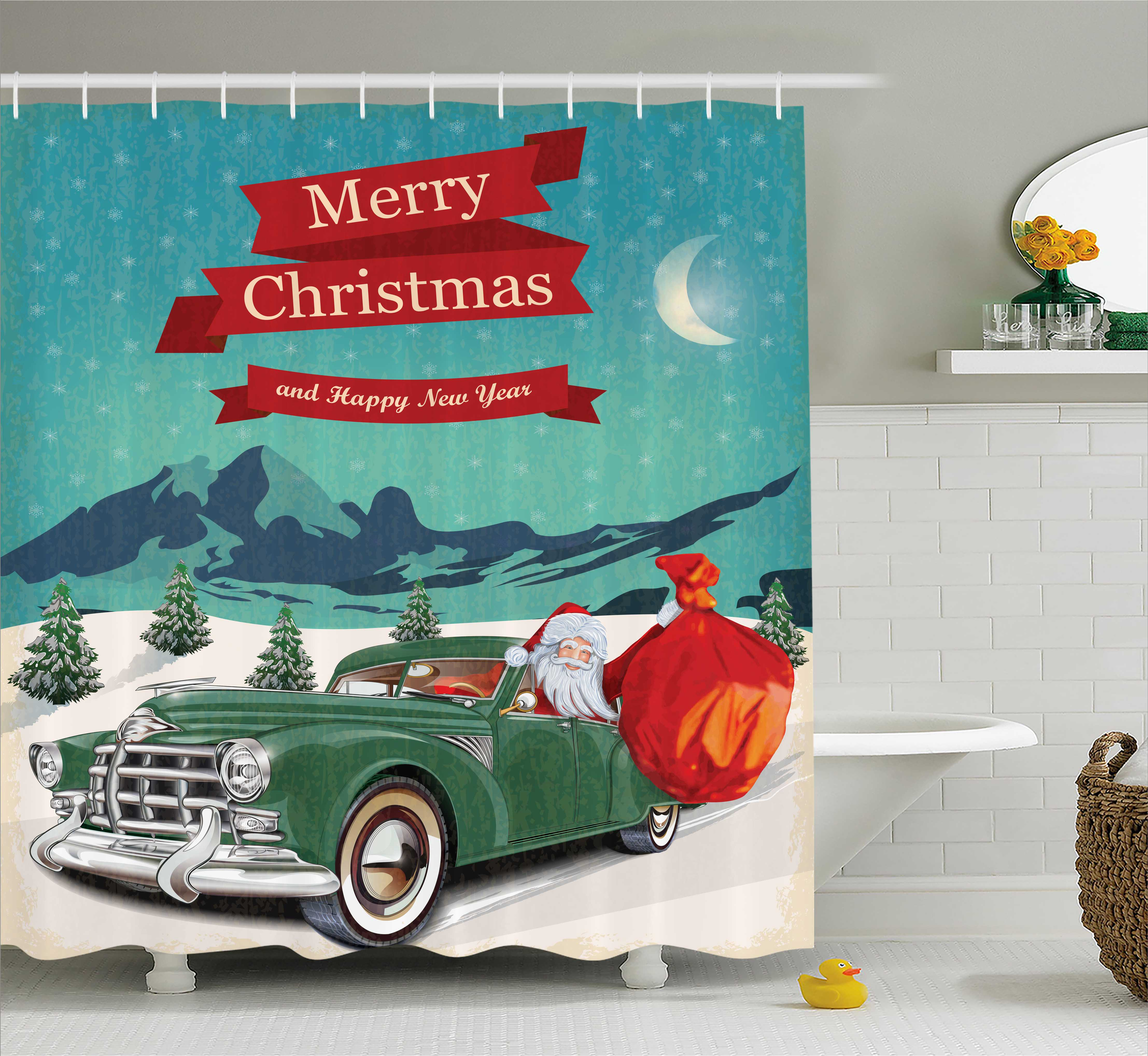 Christmas Decorations Shower Curtain Set, Santa In Classic American Car  With Bag Of Toys Snowy