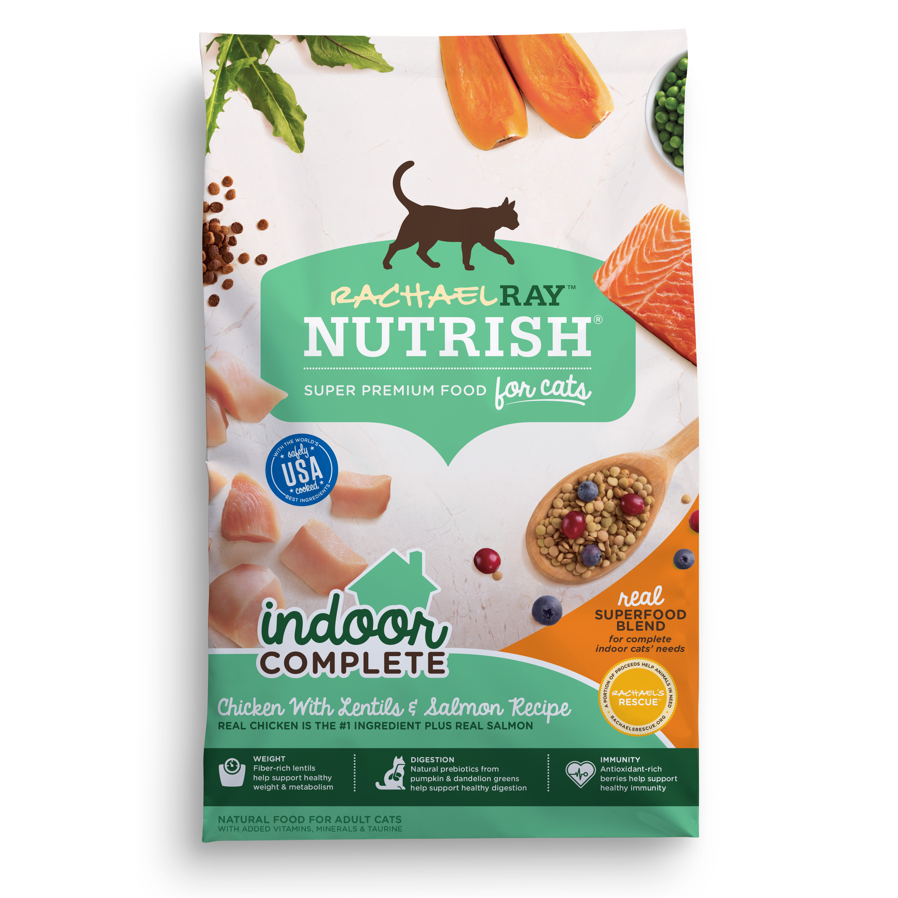 Rachael Ray Nutrish Indoor Complete Natural Dry Cat Food, Chicken With Lentils & Salmon Recipe, 3 Lbs