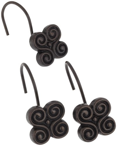 Carnation Home Fashions PHP-PM/67 Oil Rubbed Bronze Piermont Resin Shower Curtain Hooks Set Of 12