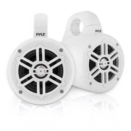 PYLE PLMRWB45W - Waterproof Rated Marine Tower Speakers - Compact Wakeboard Subwoofer Speaker System (4'' -inch, 300