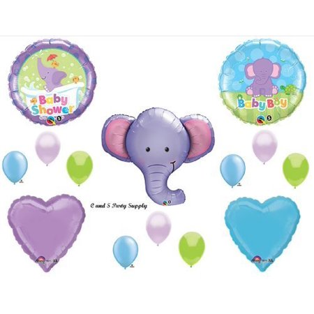 Baby Boy Elephant Baby Shower Decorations (purple elephant baby boy balloons decorations supplies baby shower jungle zoo by)